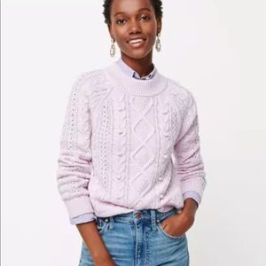 J. Crew Women's Cable-Knit Lilac Sweater Size XS